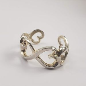 Tiffany & Co  Paloma Double Heart Silver Cuff